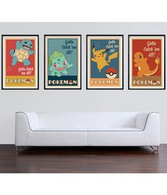 pokemon art print vintage inspired pokemon 11x17 set of 4 art print retro pokemon print set