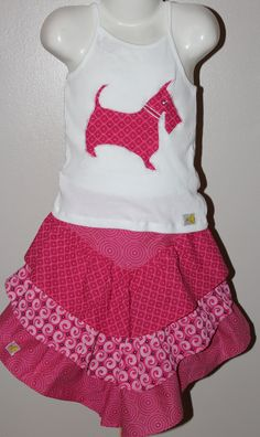 Stylish Pink gathered skirt with matching Cami shirt, Scotty dog applique, Shwe-shwe summer skirt, African print skirt and T-shirt, by JaxStarClothing on Etsy African Print Skirt, Gathered Skirt, Scottie Dog, Summer Skirts, Cami, Applique, Trending Outfits, Stylish, Pink
