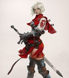 scifi-fantasy-horror:by hyunjoong . Fantasy Female Warrior, Female Knight, Fantasy Weapons, Warrior Women, Female Character Design, Character Concept, Character Art, Concept Art, Fantasy Characters
