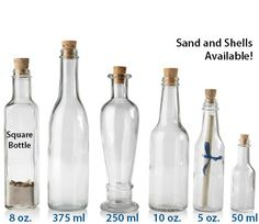 MESSAGE IN A BOTTLE - WITH TAPERED CORKS GLASS BOTTLES I think these bottles could work if that's the direction taken.
