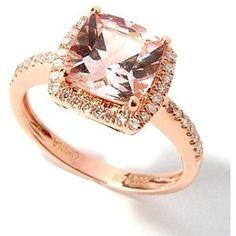 14K Rose Gold Cushion Cut Morganite Diamond Ring