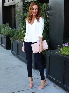 #outfit #ideas / #chic #neutral #wardrobe / #skinny #jeans and #heels