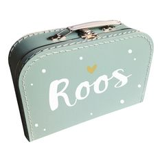 Koffertje met naam mint en hartje type Roos