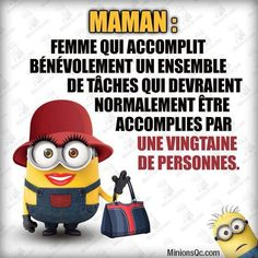 Proverbes Drôles  : Minions Maman New Quotes, Book Quotes, Minion Humour, Funny Minion, Citation Minion, Breakup Thoughts, Good Sentences, French Quotes, Minions Quotes