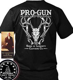 "Bundle of 3 items. Pro-Gun. Hunter-Sportsman. Black MED T-Shirt. Made in USA. Bundle of 3 items: T-shirt, Pocket Constitution & 4.5"" decal. Official Sons of Liberty Tees® Gear. Made in the USA. Second Amendment / Pro Gun T-Shirts. Screen Printed on a Bayside Brand™ MADE IN AMERICA T-Shirt. 6.1 oz. 100% Pre-Shrunk American Made Cotton Tee. Premium Cotton Tee. Liberty, Second Amendment, and Patriot Apparel/T-Shirts - made by a small American owned business, by a couple of die hard patriots...."