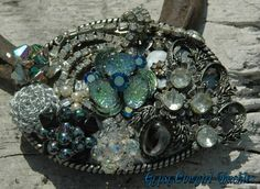 Blingin Blues Rhinestone Cowgirl Vintage Upcycled Belt Buckle from jewelry gypsycowgirl. $55.00, via Etsy.
