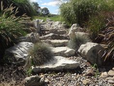 Dry stream bed waterfall spill rock example. Stairs when dry, waterfall when wet.