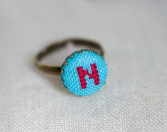 Cocktail ring  initial jewelry  adjustable ring  i014 by skrynka on Etsy.