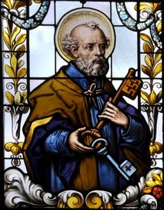 detail of a stained glass window of Saint Peter the Apostle; Catholic Catechism, Patron Saints, Religious Art, Religious Icons, Stained Glass, Heaven, Artist, Gabriel, Catholic Pictures