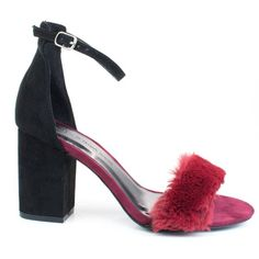 Burgundy by Wild Diva, Black Burgundy retro block heel w faux fur toe trimming ankle strap Dress Sandals, Dress Shoes, Knee High Boots Dress, Stiletto Heels, High Heels, Evening Sandals, Open Toe Shoes, Sneaker Boots, Types Of Shoes