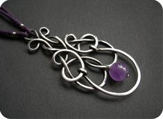 Wire creative - Nickel silver with amethyst Head Jewelry, Wire Jewelry, Jewelry Crafts, Jewelry Art, Jewelery, Handmade Jewelry, Jewelry Design, Wire Wrapped Necklace, Wire Wrapped Pendant