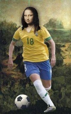 Mona Lisa playing on the football team of Brazil - Art by Antônio Lídio Gomes