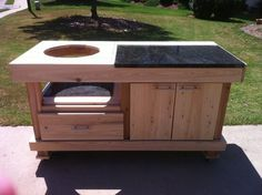 Big Green Egg Grill Table with partial granite counter