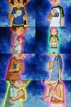 The Digidestined - Tai (courage), Matt (friendship), Sora (love), Mimi…
