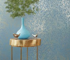 Zola - Gold on Mineral Blue wallpaper, from the Zola Wallpaper collection by Anna French Anna French Wallpaper, Wallpaper With Gold, Wallpaper Collection, Discount Wallpaper, French Collection, Gold Table, Inspirational Wallpapers, Turquoise Glass, Blue Wallpapers