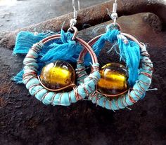 Turquoise earrings with glass venetian. Bohemian style. Copper jewelry. Wire wrapping.