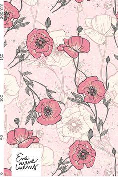Prachtige bloemenprint in biokatoen Prints, Design, Pink, Tricot, Weaving, Cotton, Nice Asses, Design Comics, Printmaking