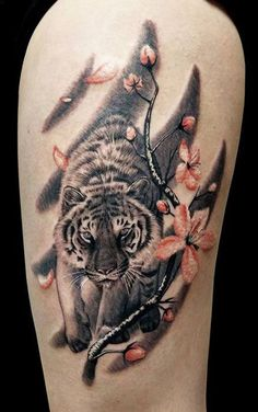Tiger Tattoo Images – Best Tattoos In The World, Best Tattoos For Me, Best Tattoos For Men, Best Tattoos Designs, Best Tattoos Ideas Tattoo Girls, Girls With Sleeve Tattoos, Tattoo Baby, Rose Tattoos, Body Art Tattoos, White Tattoos, Tatoos, Tiger Tattoo Thigh, Tiger Claw Tattoo