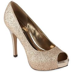 Gold glitter shoes for bridesmaids