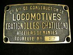 Museu Ferroviário Virtual - Placa de antigo fabricante francês de locomotivas a vapor