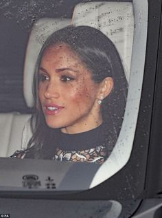 Meghan Markle, 36, opted for noticeably heavier make-up today as she joined Prince Harry for the first time at the Queen's Christmas lunch