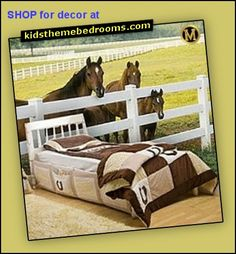 Horse themed bedroom decorating ideas, horse wall murals. Horseshoe bedding. Horse themed bedroom - cowgirl theme bedroom.  Cow print  bedding, horse wall mural decal, pretty in soft pink bedrooms, perfect for the girls Cowgirl bedrooms. Horse themed rooms. Farm bedroom. Horse themed bedrooms - filled with fun equestrian decor, horse bedding, wallpaper #murals, horse wall decals. Great bedroom decorating theme for girls - coz girls love horses .... horse theme bedroom…