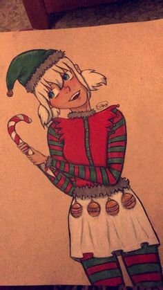 Here is a Christmas drawing, my friends said to do an elf assassin so she has a Staby candy cane. Anywho, hope ya like it!