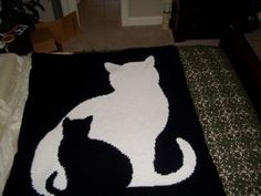cat silhouette crochet afghan pattern by Michellena