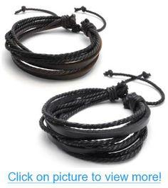KONOV Jewelry 2pcs Leather Rope Brown $ Black Unisex Surfer Wrap Bracelets #KONOV #Jewelry #2pcs #Leather #Rope #Brown # #Black #Unisex #Surfer #Wrap #Bracelets