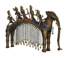 Ayodhya Prasthan: Inspired from the Hindu Epic Ramayana, this piece of art is from Chhattisgarh which depicts the return of Lord Ram with his brothers after completing his education. Made through a very rare and lost Wax Technique by the Tribal people of this state these figures are made from Bell Metal. Every piece is made from a new Mould; therefore, no two pieces are similar. Great care and efforts are put for finishing of these products.