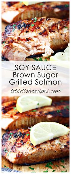 Soy Sauce and Brown Sugar Grilled Salmon Recipe: Salmon fillets are marinated in a sweet soy sauce mixture, then grilled to perfection in this easy, restaurant quality seafood dinner. #salmon #fish #grilling #seafood #recipe
