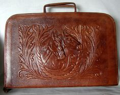 Fabulous Horse Motif Hand Tooled Leather Computer Case