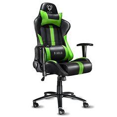 Diablo X-Player siège gaming fauteuil gamer chaise de bureau avec accoudoirs (noir-vert)