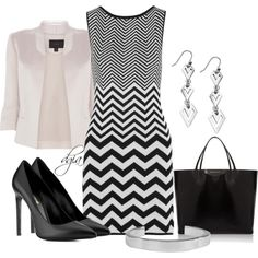 """""""Black and white chevron"""" by dgia on Polyvore"""
