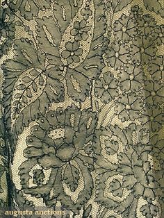 BLACK CHANTILLY LACE SHAWL, 1850-1860s