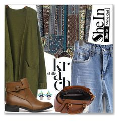 """""""Shein Army Green Coat"""" by littledeath11 ❤ liked on Polyvore"""