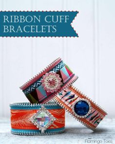 Pretty Ribbon and Leather Bracelets - Tribal - from @Bev {Flamingo Toes}