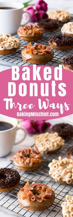 Choose your own adventure with these easy baked donuts that you can make three ways: Maple Bacon Donuts, Milk and Cereal Donuts, or Coffee and Chocolate Donuts! (Ad)   Breakfast Recipes   Doughnuts   Easy Breakfasts  