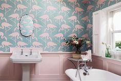Sanderson - Vintage 2 : Flamingos Turquoise/Pink