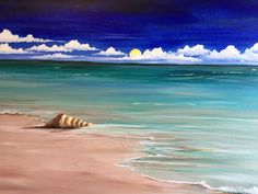 We host painting events at local bars. Come join us for a Paint Nite Party! Painting & Drawing, Watercolor Paintings, Art Paintings, Wine And Canvas, Ocean Art, Beach Scenes, Beach Art, Pictures To Paint, Painting Inspiration