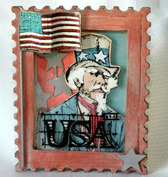 Distress Patriotic Uncle Sam in Postage Stamp Frame by Candy Colwell