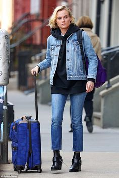 She's got great jeans! Make-up free Diane Kruger wore a double denim ensemble as she stepp...