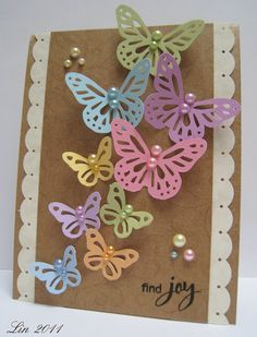 Lily Pad Cards Inspirational Challenge I could totally do this with the Cricut CTMH cartridge. I love all the colors and the pearls! Handmade Greetings, Greeting Cards Handmade, Cricut Cards, Stampin Up Cards, Butterfly Crafts, Handmade Birthday Cards, Card Tags, Paper Cards, Creative Cards