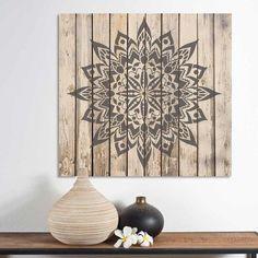 New Tribe Mandala Stencil from Cutting Edge Stencils stenciled on wood wall art. http://www.cuttingedgestencils.com/new-tribe-mandala-stencil-mandalas-wall-designs.html
