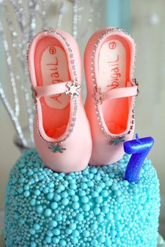 Winter ballerina birthday party cake!  See more party planning ideas at CatchMyParty.com!