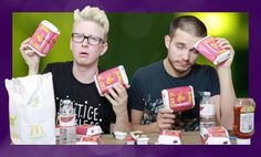Tyler Oakley & Korey Kuhl during the chicken nugget challenge
