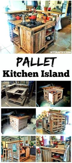 Hand-built Pallet Kitchen Island - 150 Best DIY Pallet Projects and Pallet Furniture Crafts - Page 67 of 75 - DIY & Crafts