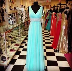 Chiffon Prom Dresses,Evening Dress,Light Blue Prom Dress,Sequined Prom