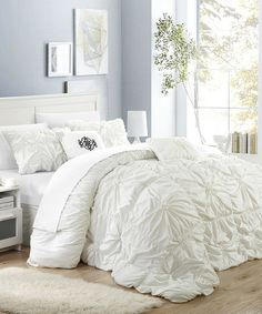 Another great find on #zulily! Six-Piece White Floral Hilton Comforter Set #zulilyfinds