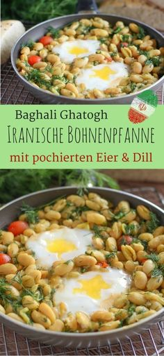Iranische Bohnenpfanne mit Eiern und Dill { Baghali Ghatogh } | Ein Vegetarisches, schnelles Paleo Rezept | Iranian Lima Bean Stew with poached eggs and dill #vegetarisch #paleodiet #cleaneatingrecipes #cinnamonandcoriander #brunchrecipes #middleeasternfood #eier #gesunderezepte #einfacherezepte #proteinreich #mittagessen #lecker